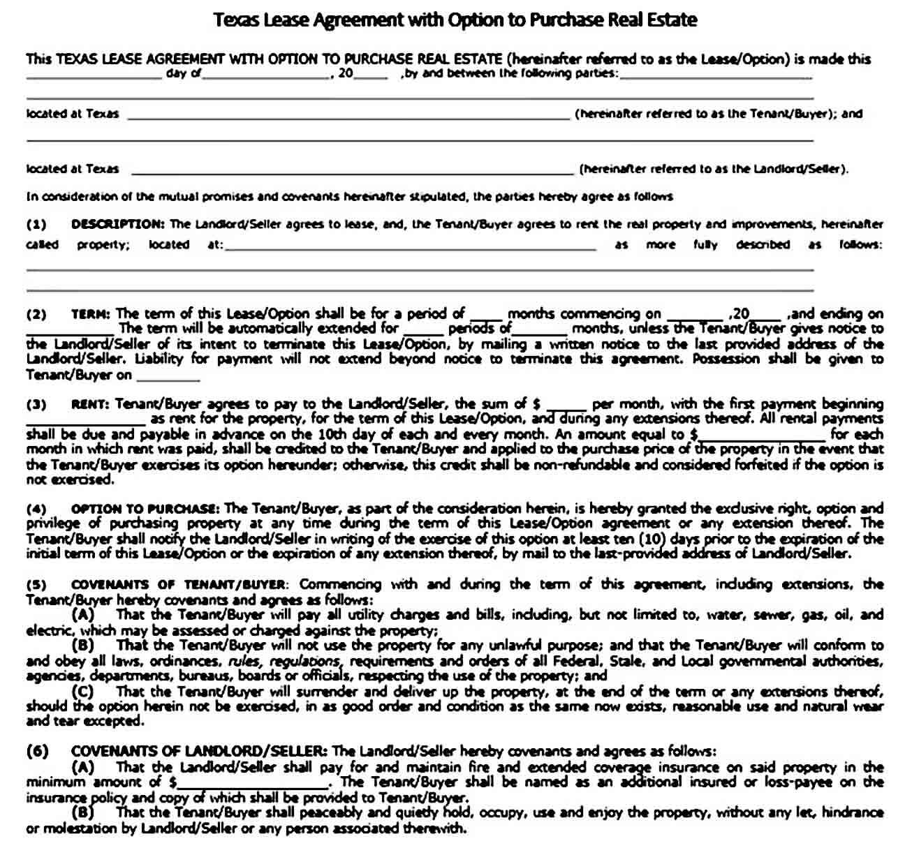 Sample Texas Residential lease agreement templates