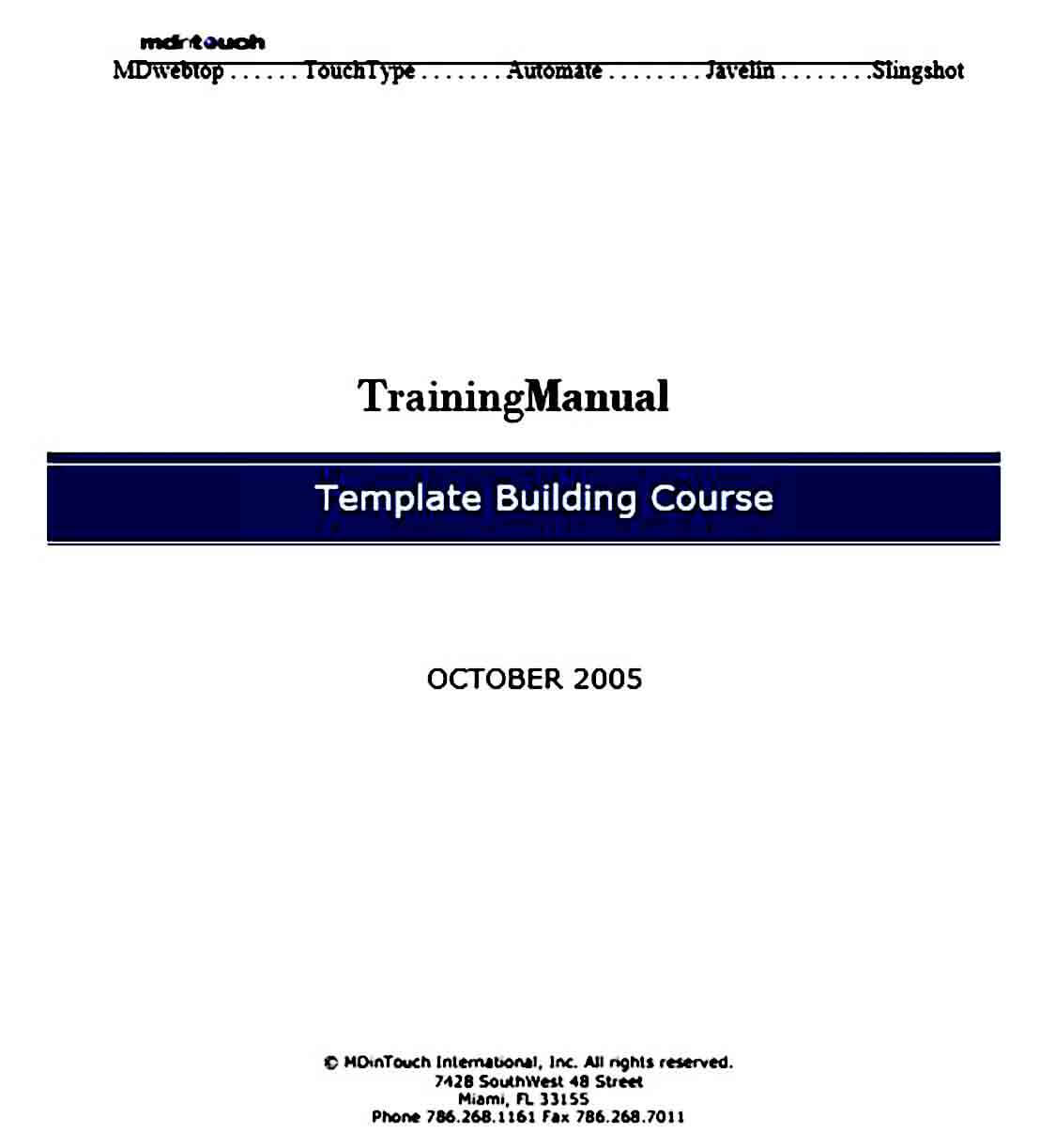 Sample Training Manual templates Format