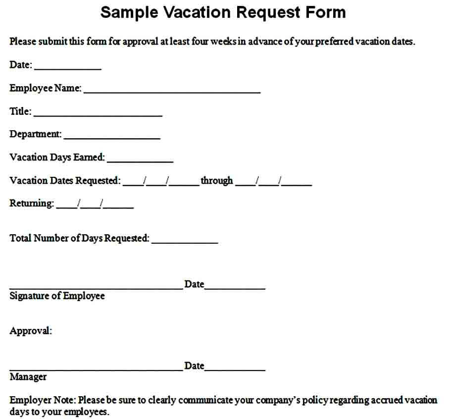 Sample Vacation Pay Request Form