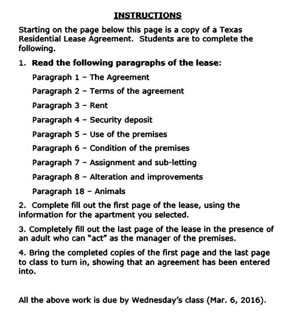 Sample texas residential lease agreement