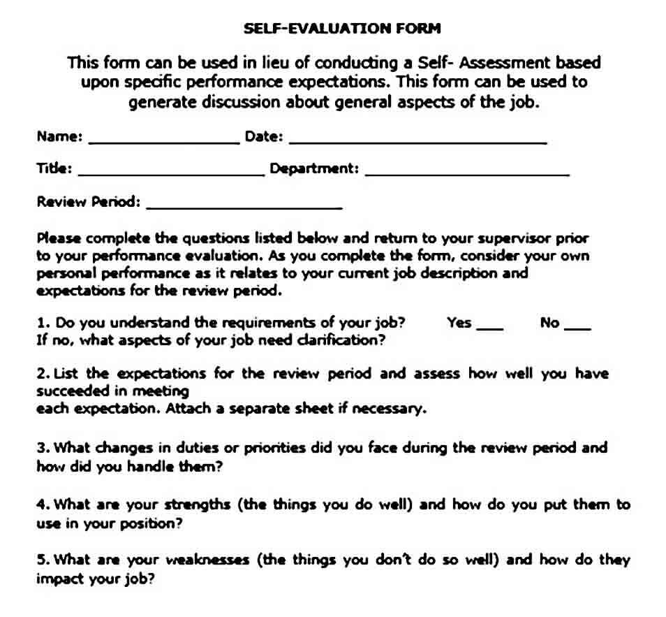 Self Evaluation for Performance Review