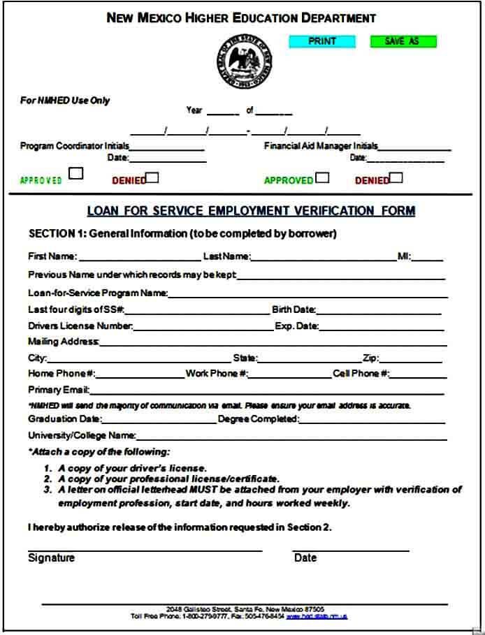 Service Employment Verification Form