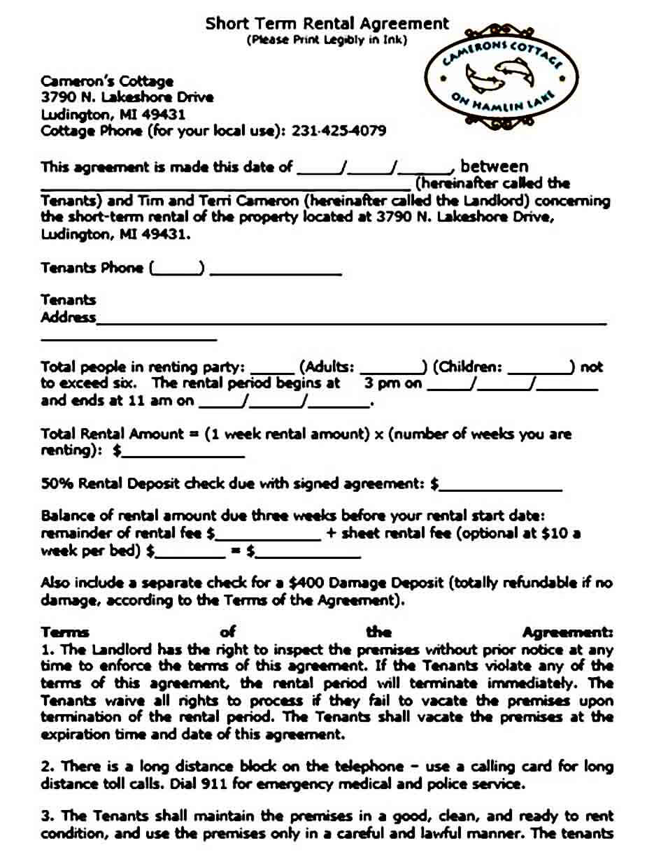 Short Term Rental Agreement Document
