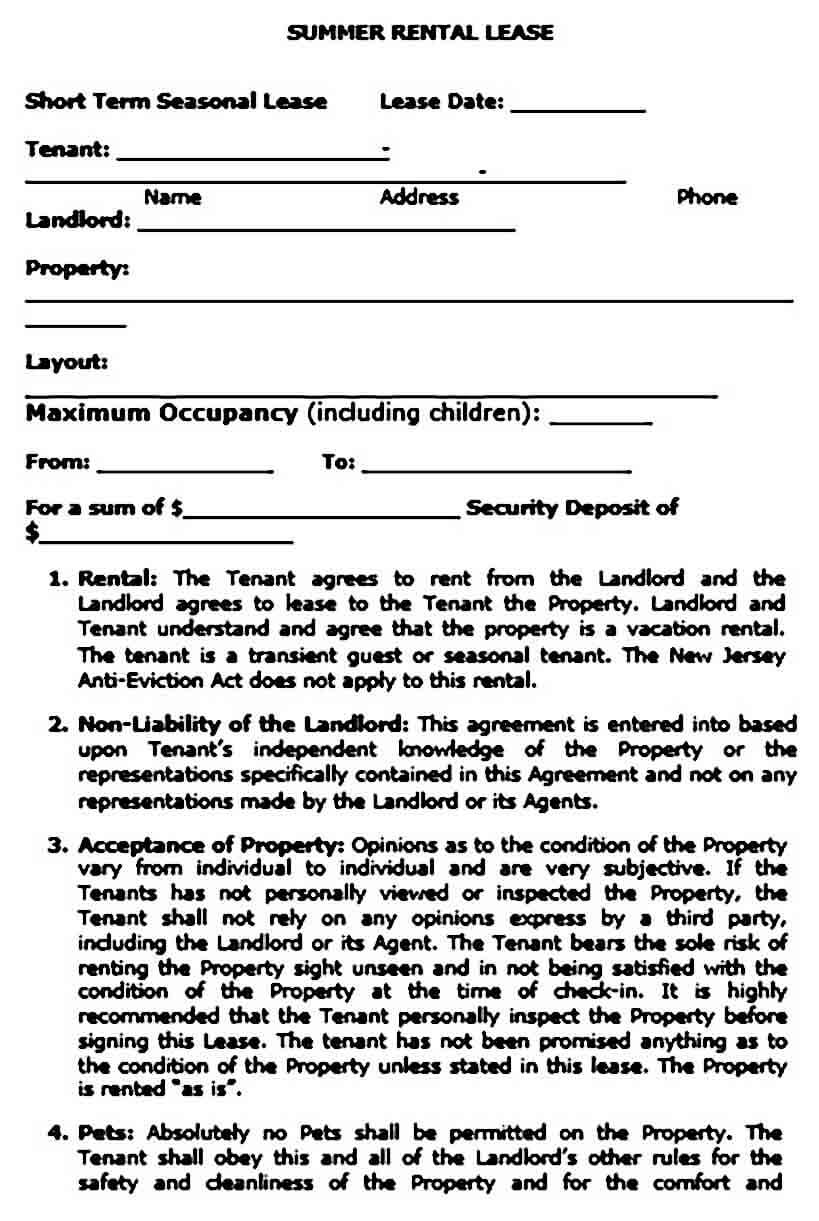 Short Term Rental Agreement