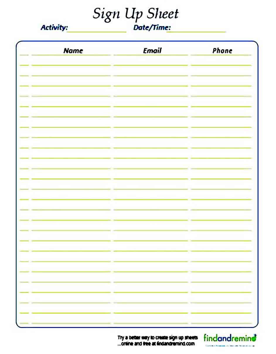 Sign Up sheet templates