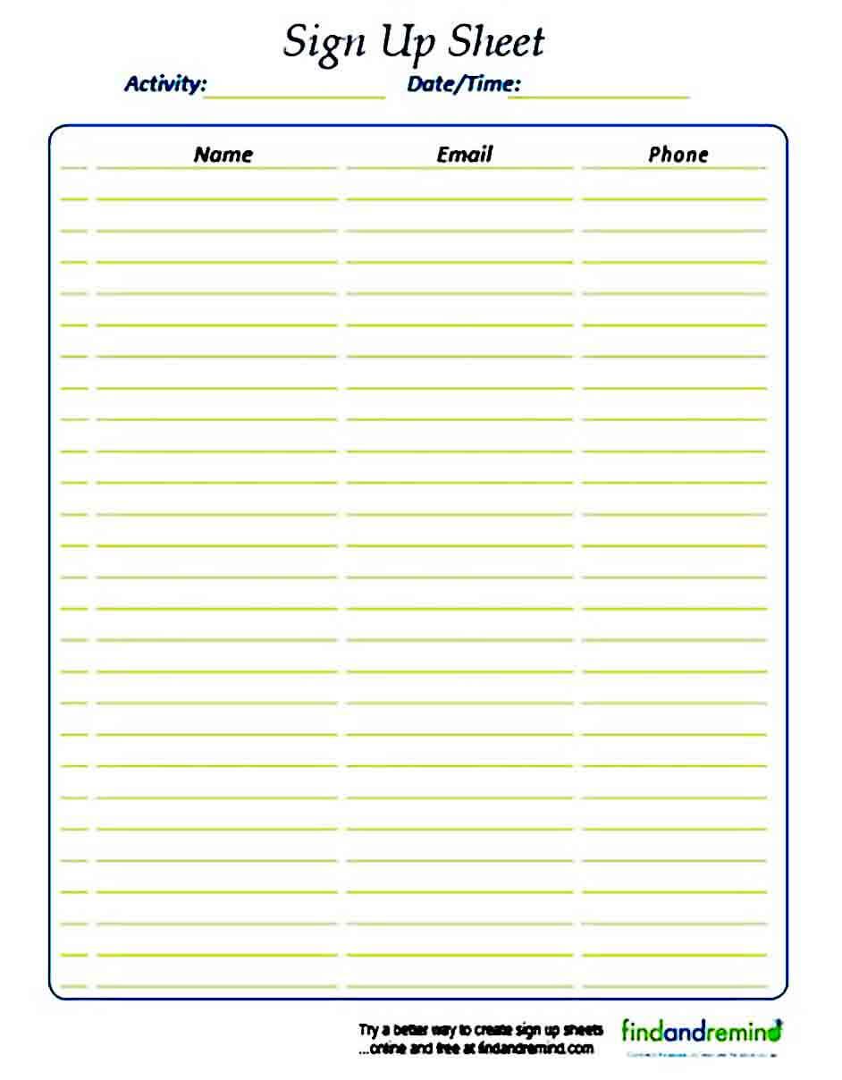 Sign Up sheet templates