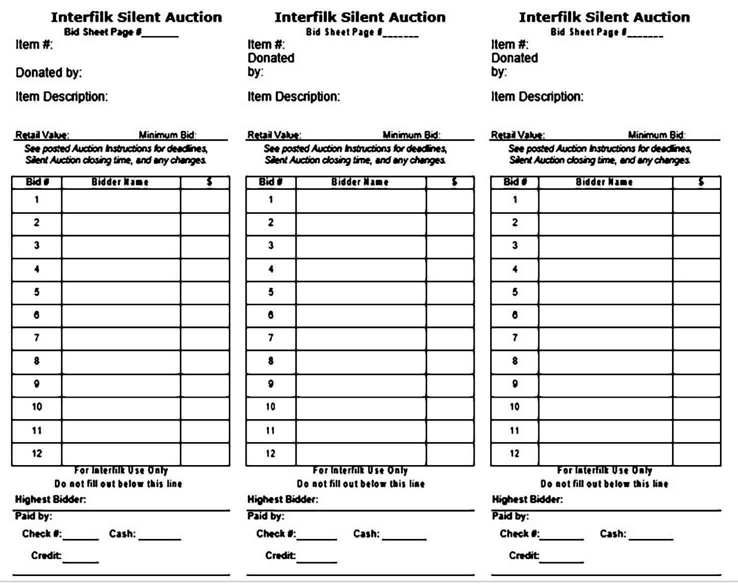 Silent Auction Bid Sheet Example