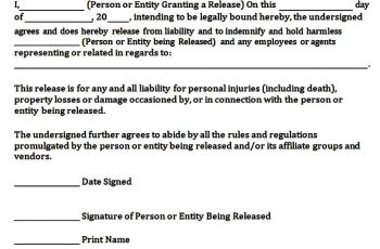 Simple General Release of Liability Form