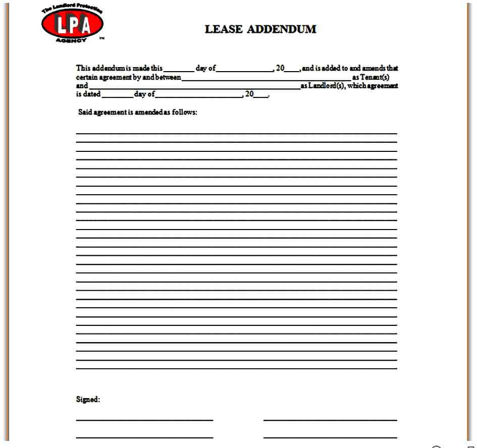 Simple Lease Addendum Form