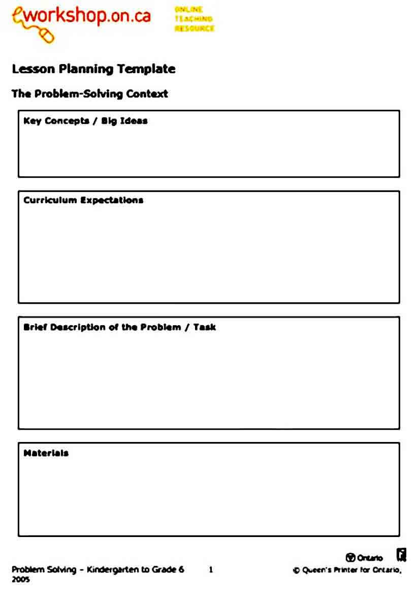 Simple Preschool Lesson Plan templates