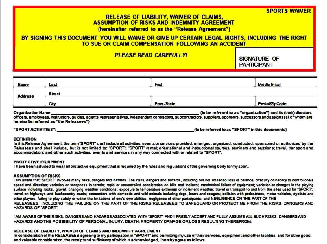 Sports Liability Waiver Form