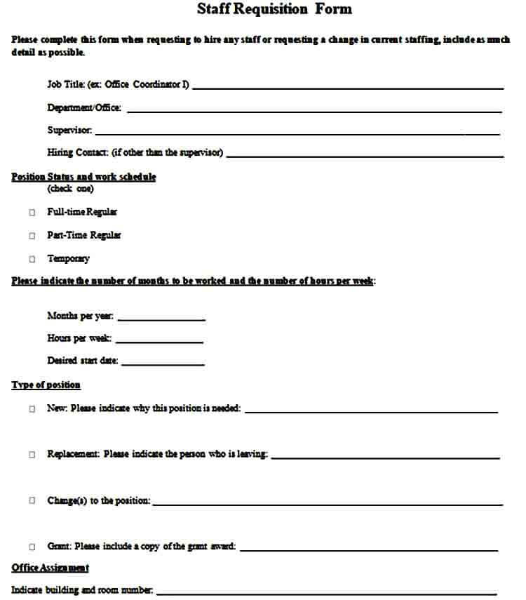 Staff Requisition Form
