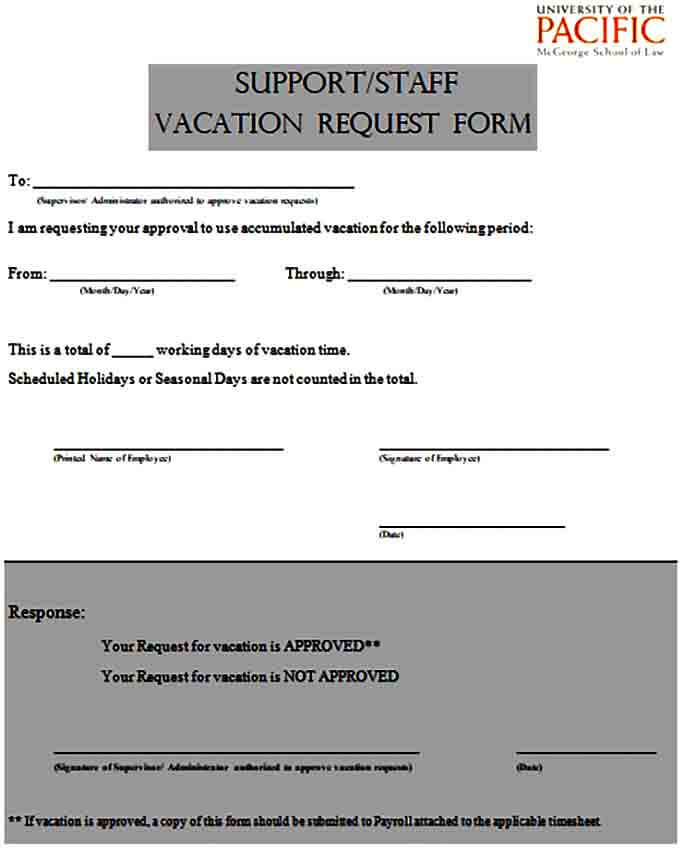 Staff Vacation Request Form