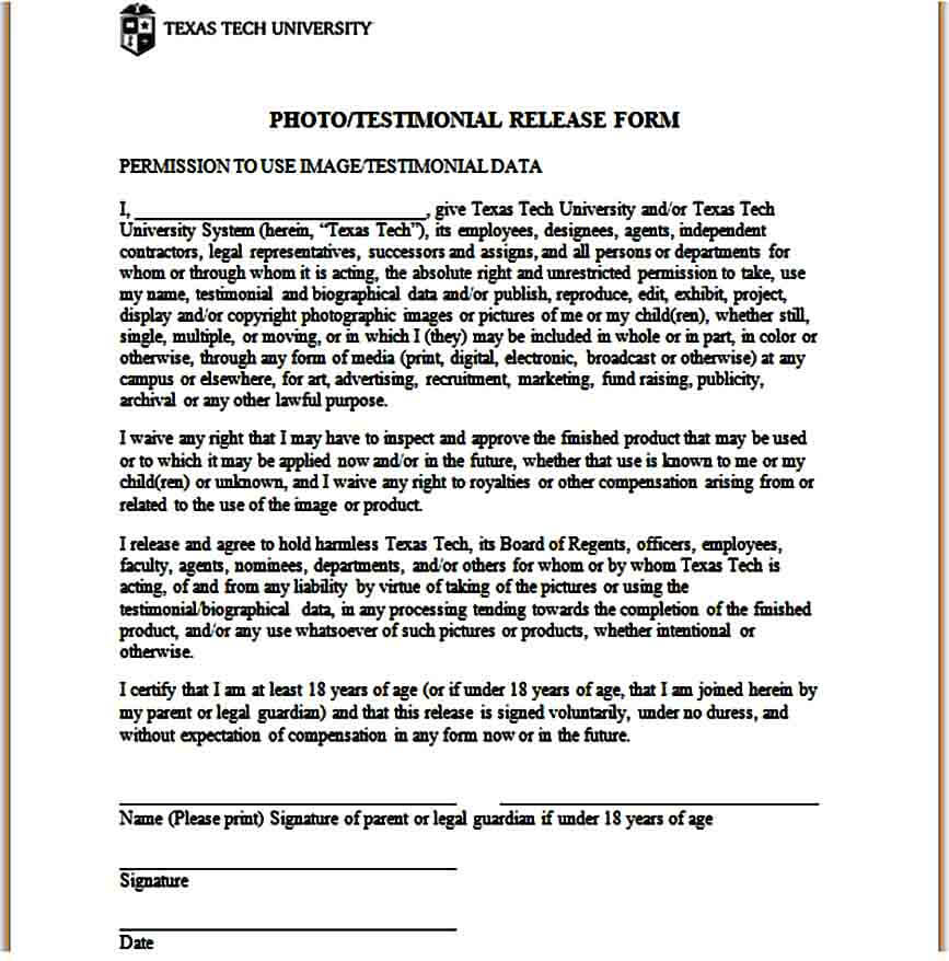 Standard Release Form for Photography