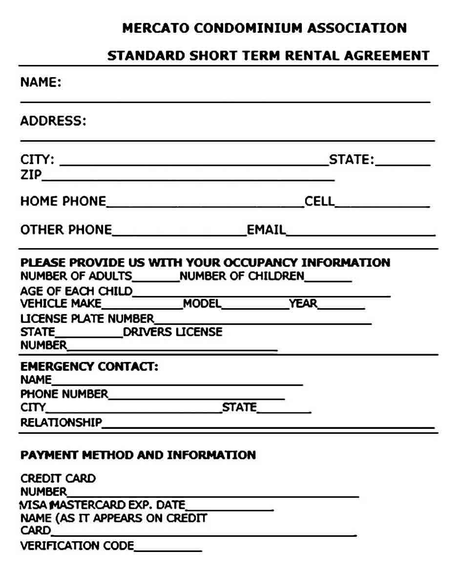 Standard Short Term Rental Agreement