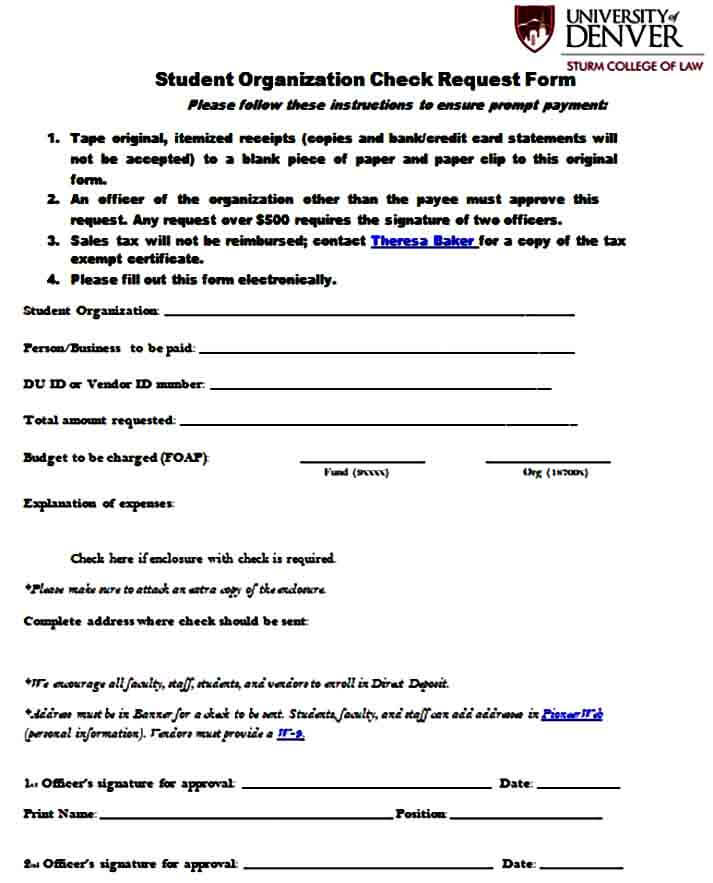 Student check request form