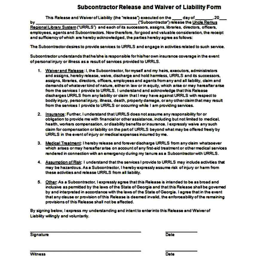 Subcontractor Liability Waiver Form