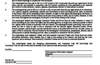 Subcontractor Lien Waiver Form