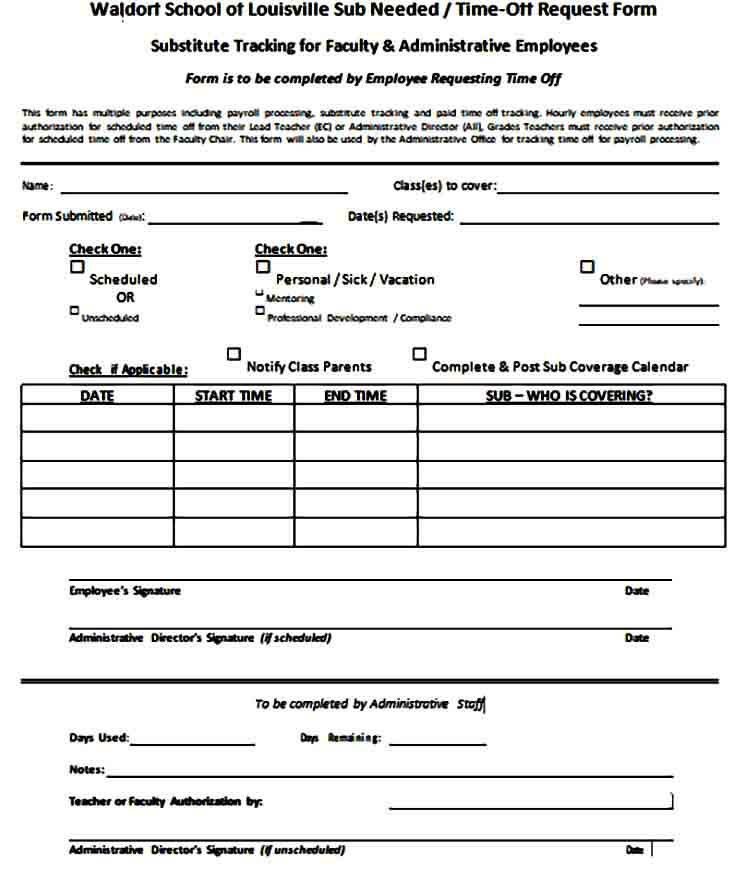 Teacher Time Off Request Form