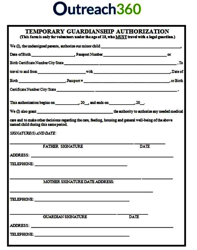 Temporary Authorization Guardianship Form