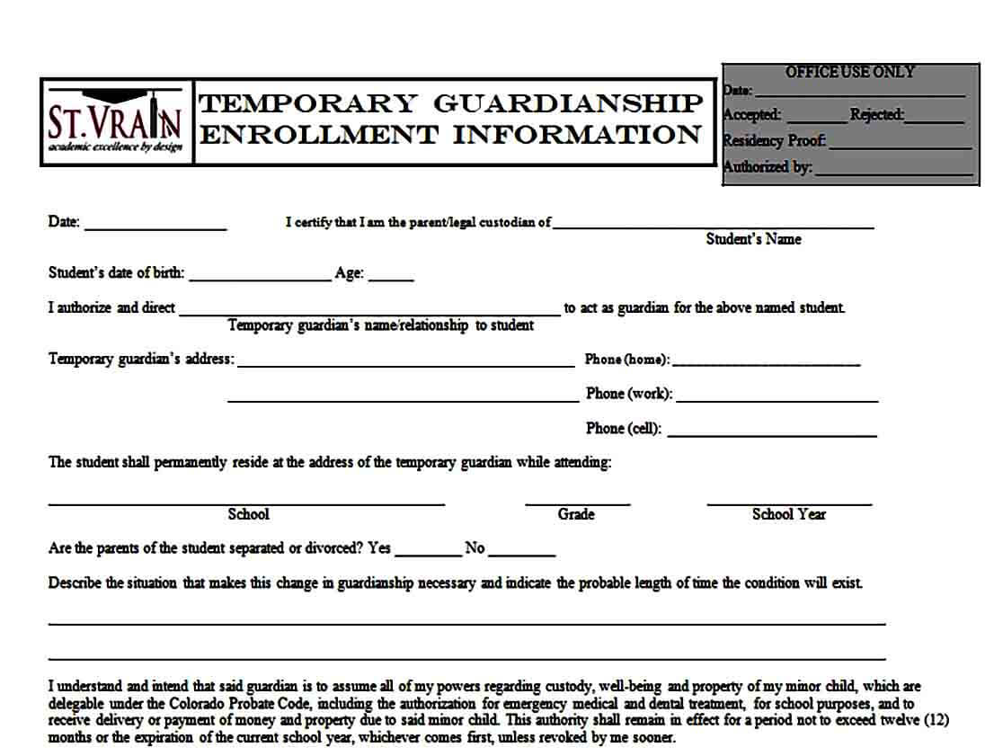 Temporary Guardianship Enrollment Form