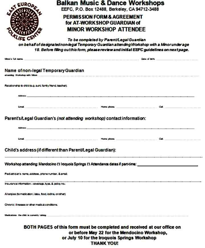 Temporary Legal Guardianship Form