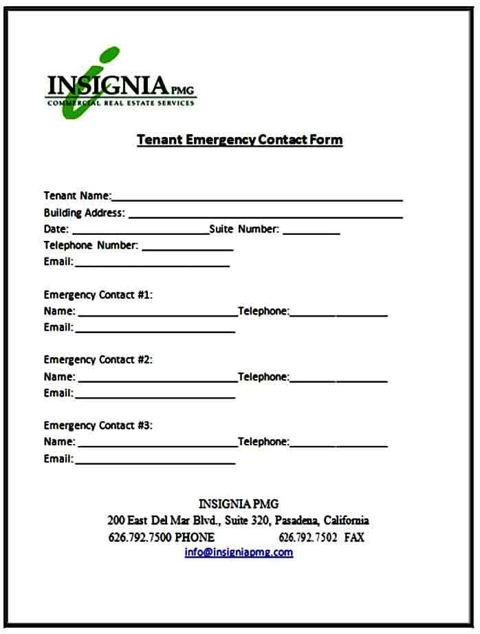 Tenant Emergency Contact Form