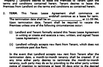 Texas Residential Lease Agreement