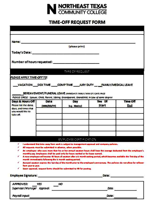 Time Off Request Form for Employee Vacation
