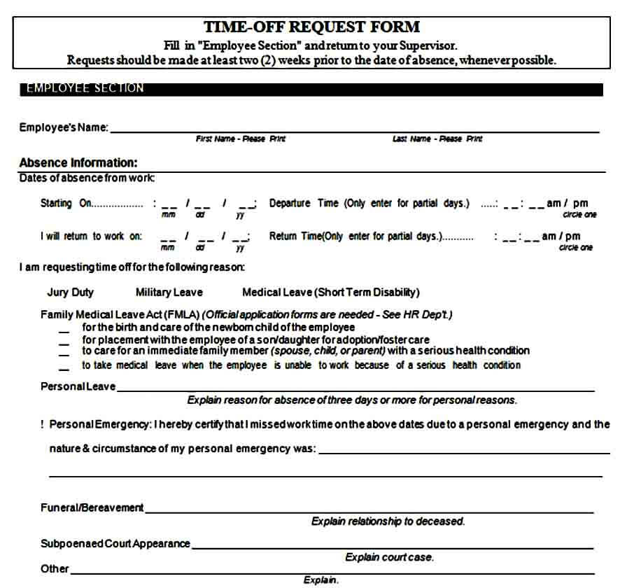 Unpaid Time Off Request Form