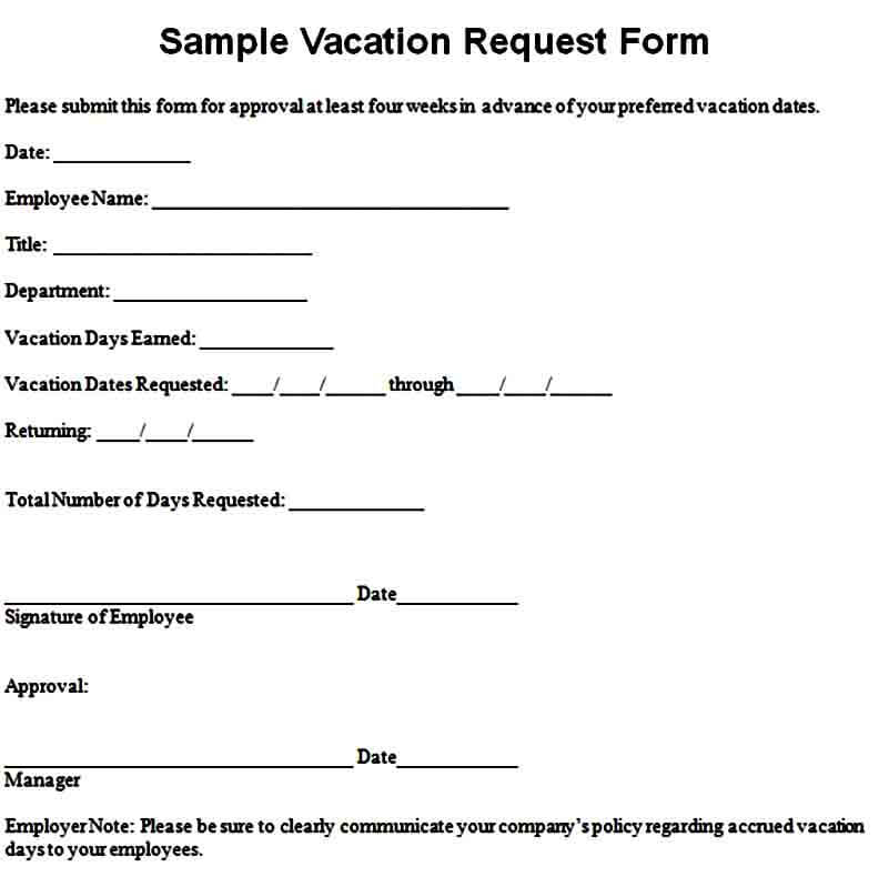 Vacation Request Form Sample
