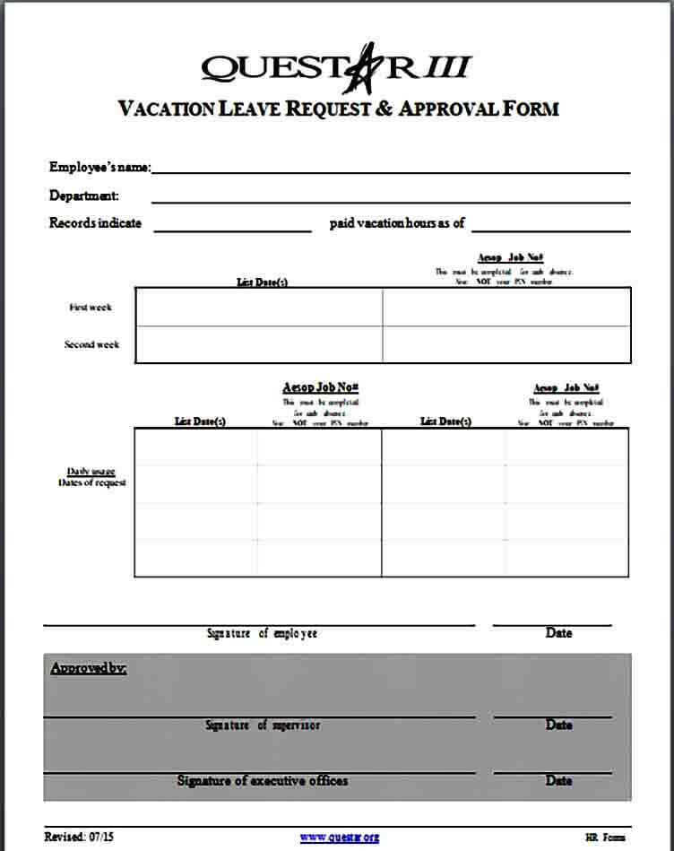 Vacation Request and Approval Form
