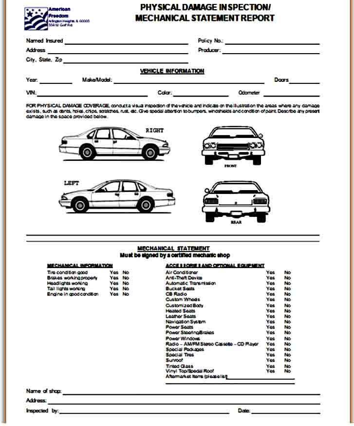 Vehicle Damage Inspection Form