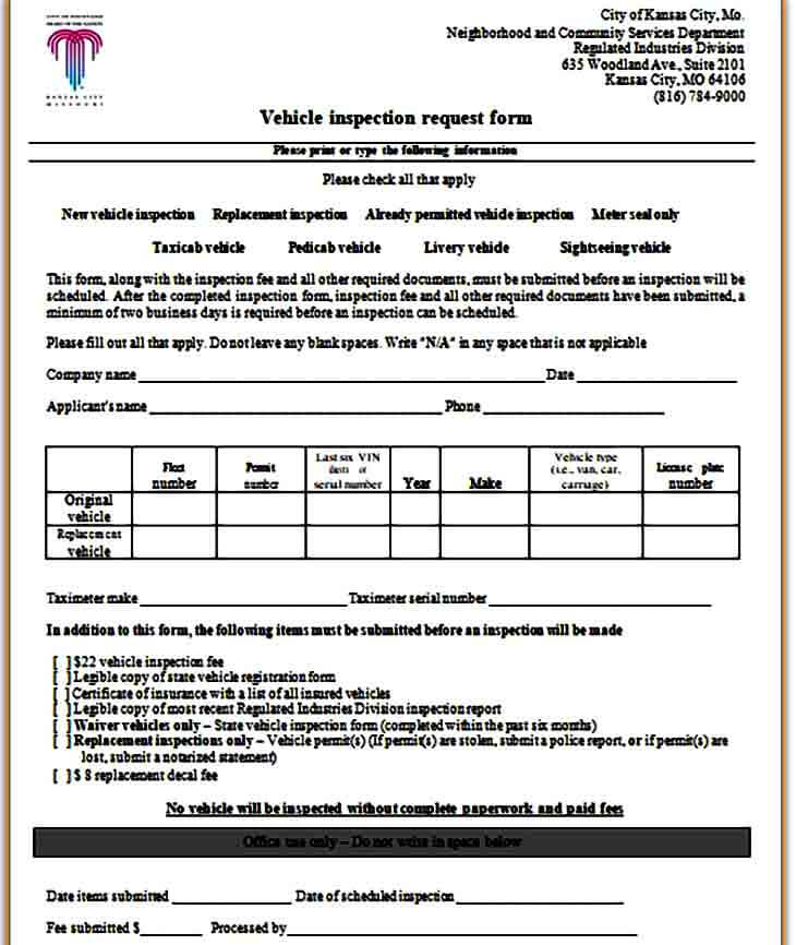 Vehicle Inspection Request Form