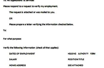 Verification of Employment Request Form