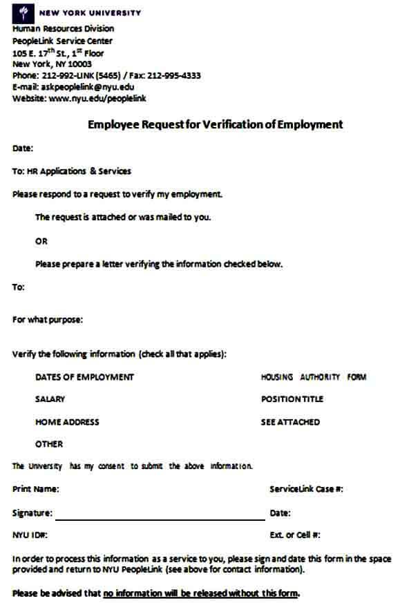Verification of Employment Request Form