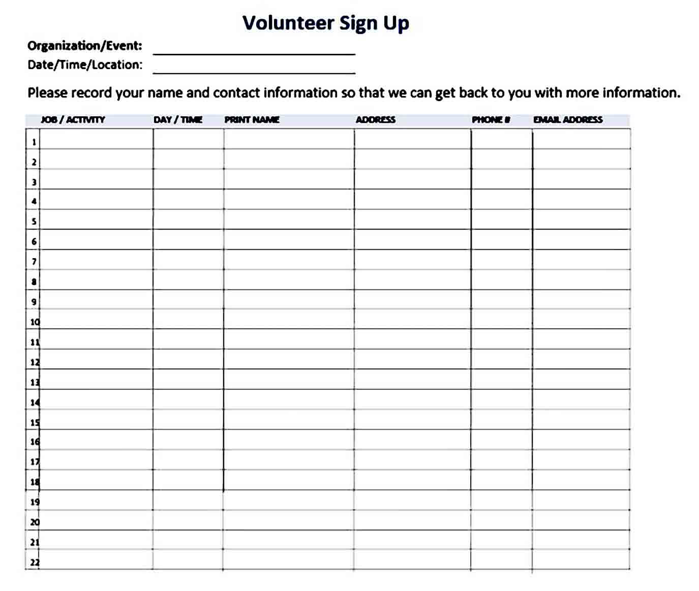 Volunteer Signup Sheet templates