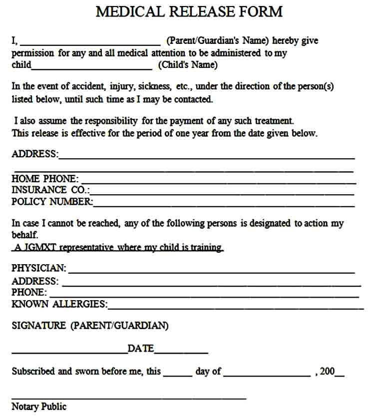 able medical release form