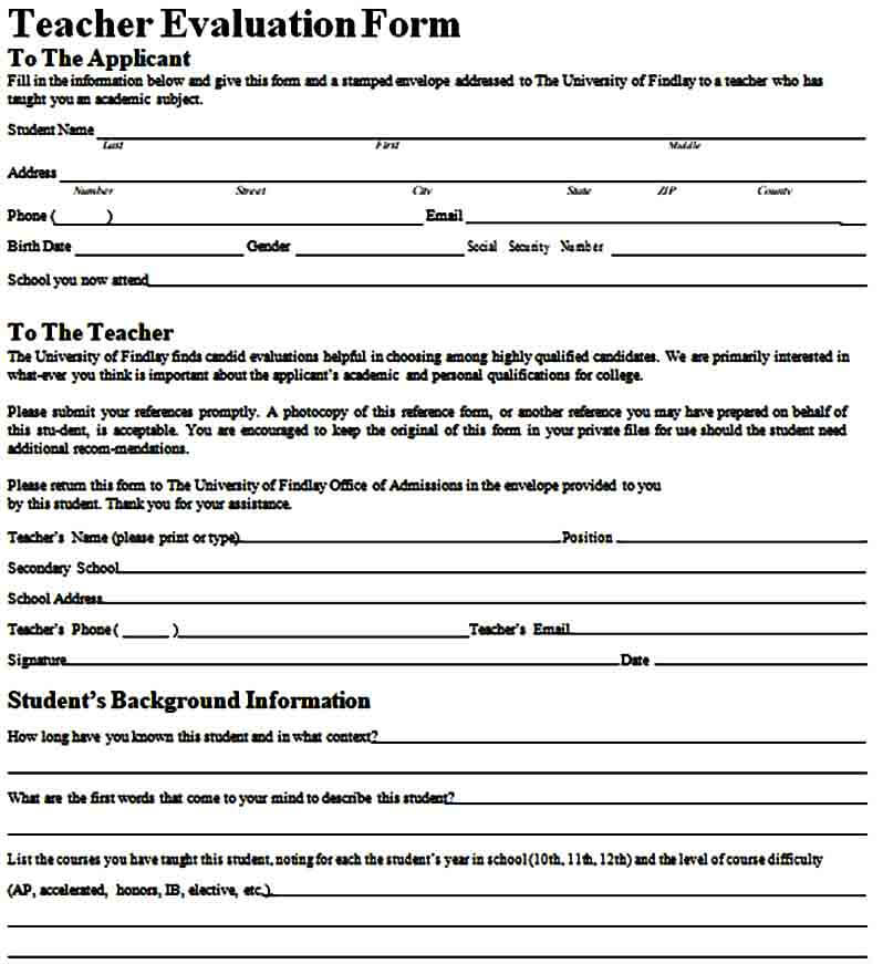 able teacher evaluation form