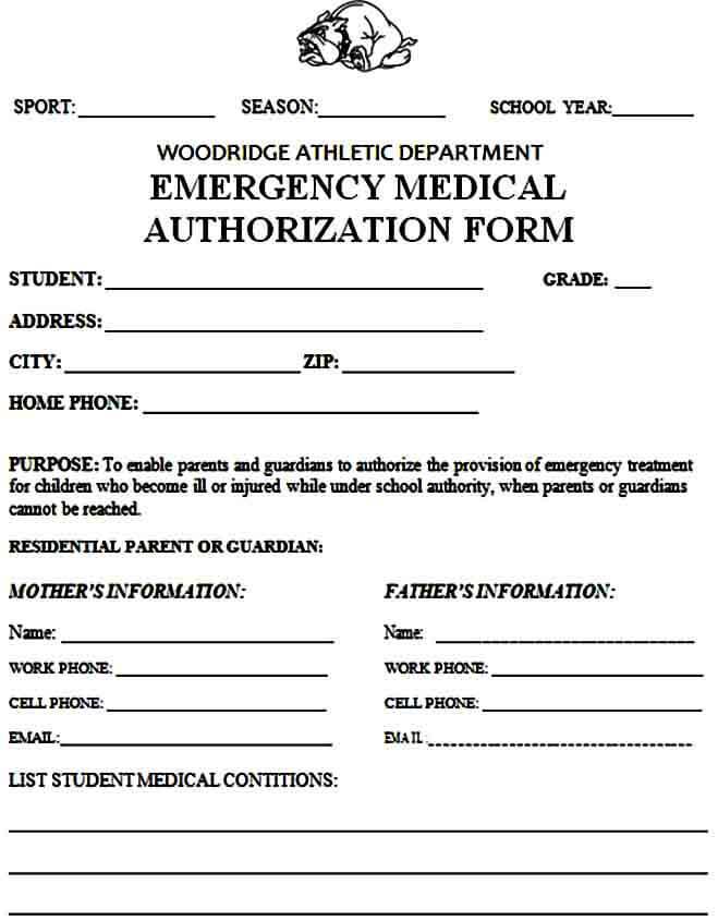 athletic medical authorization form