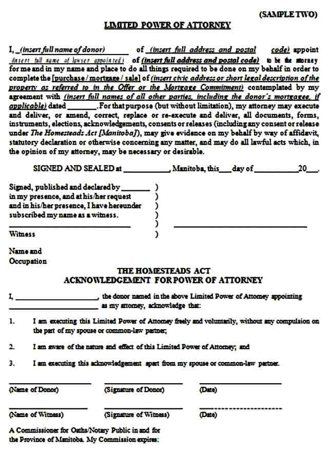 attorney form of limited power