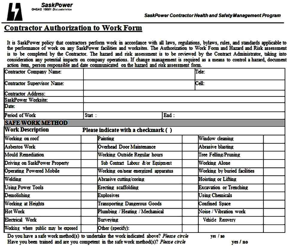 authorization to work form