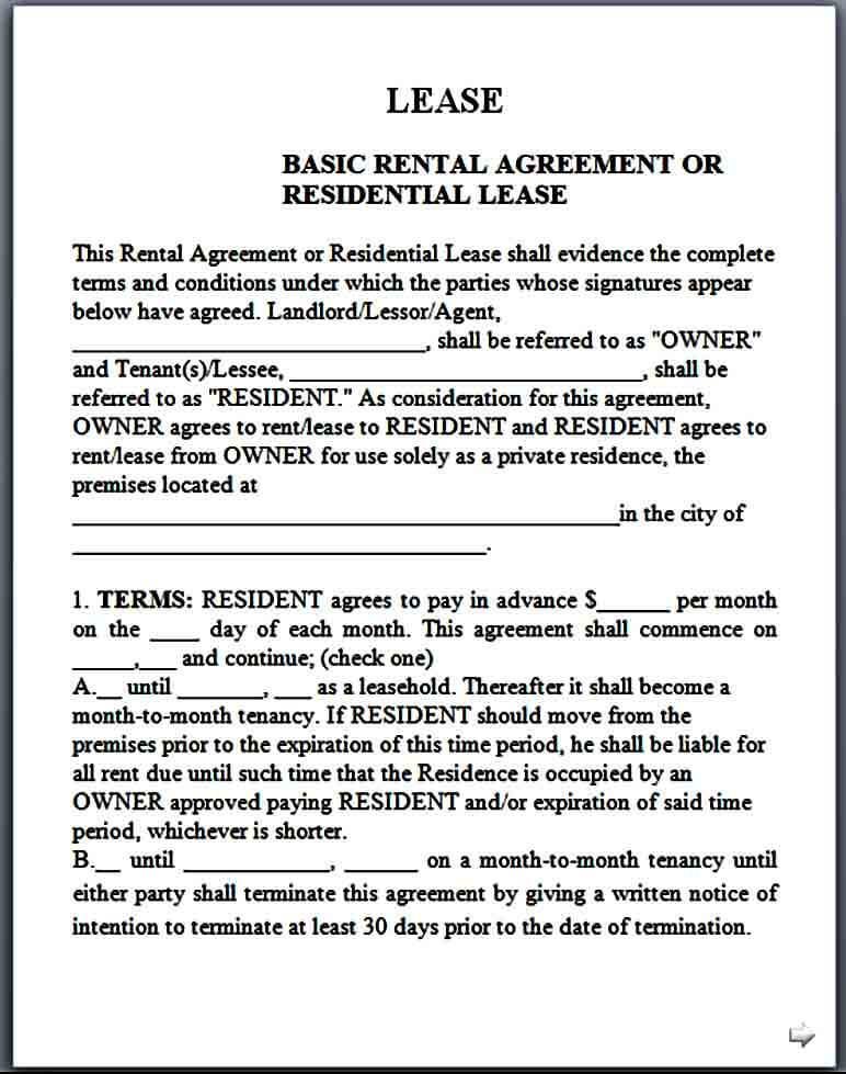 basic month to month rental agreement form