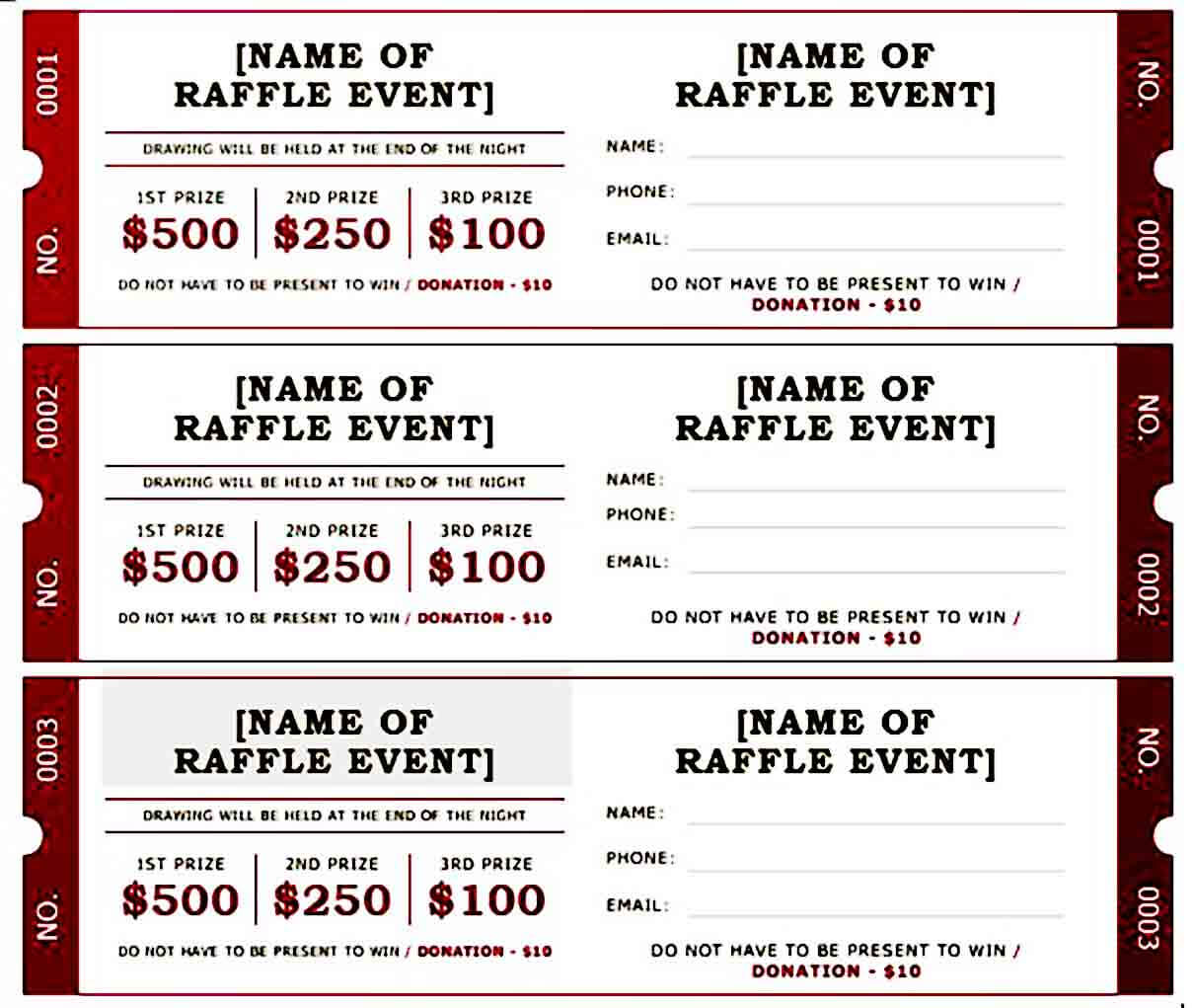 beautiful raffle ticket templates