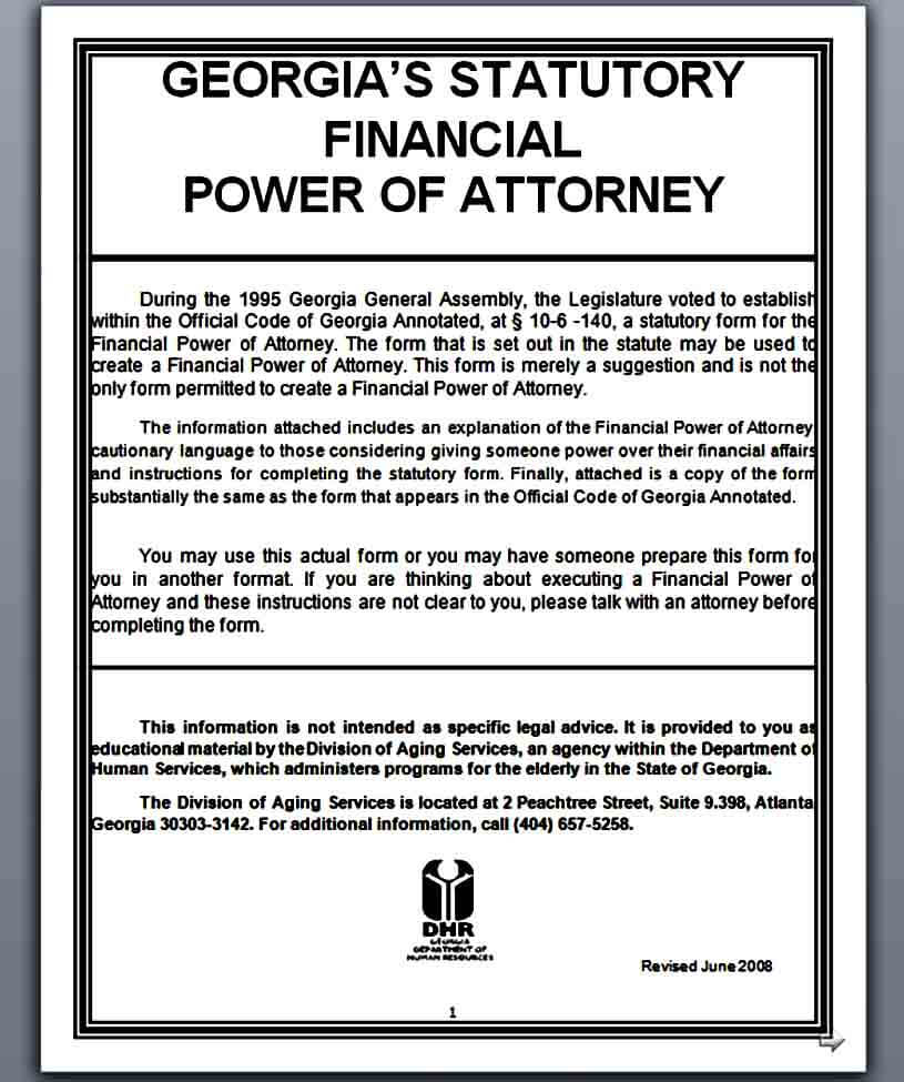 blank financial power of attorney form