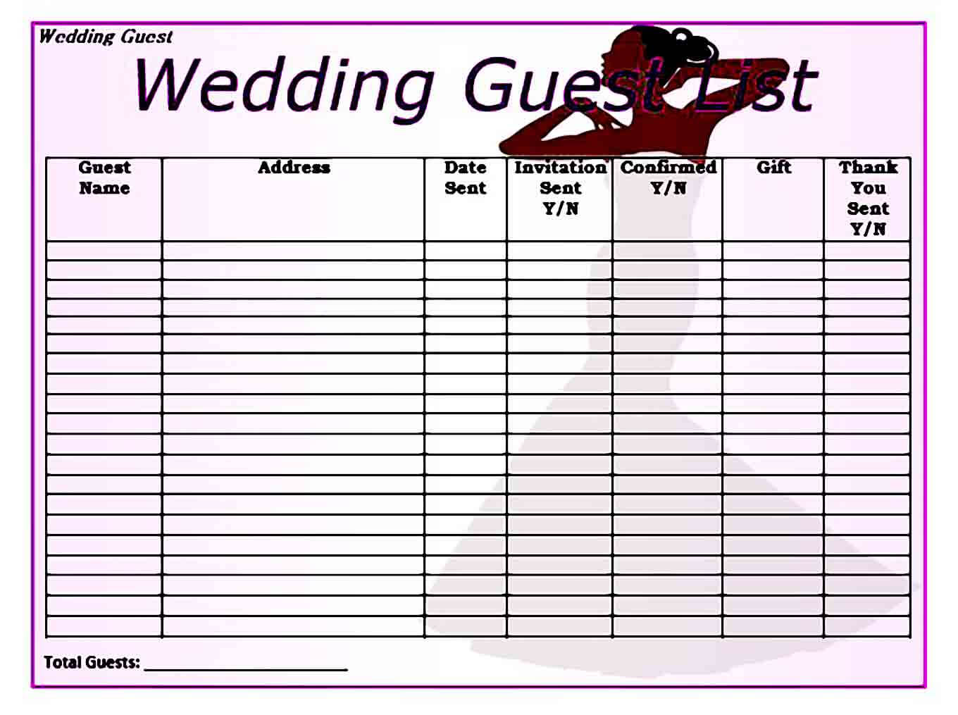 blank wedding guest list templates word