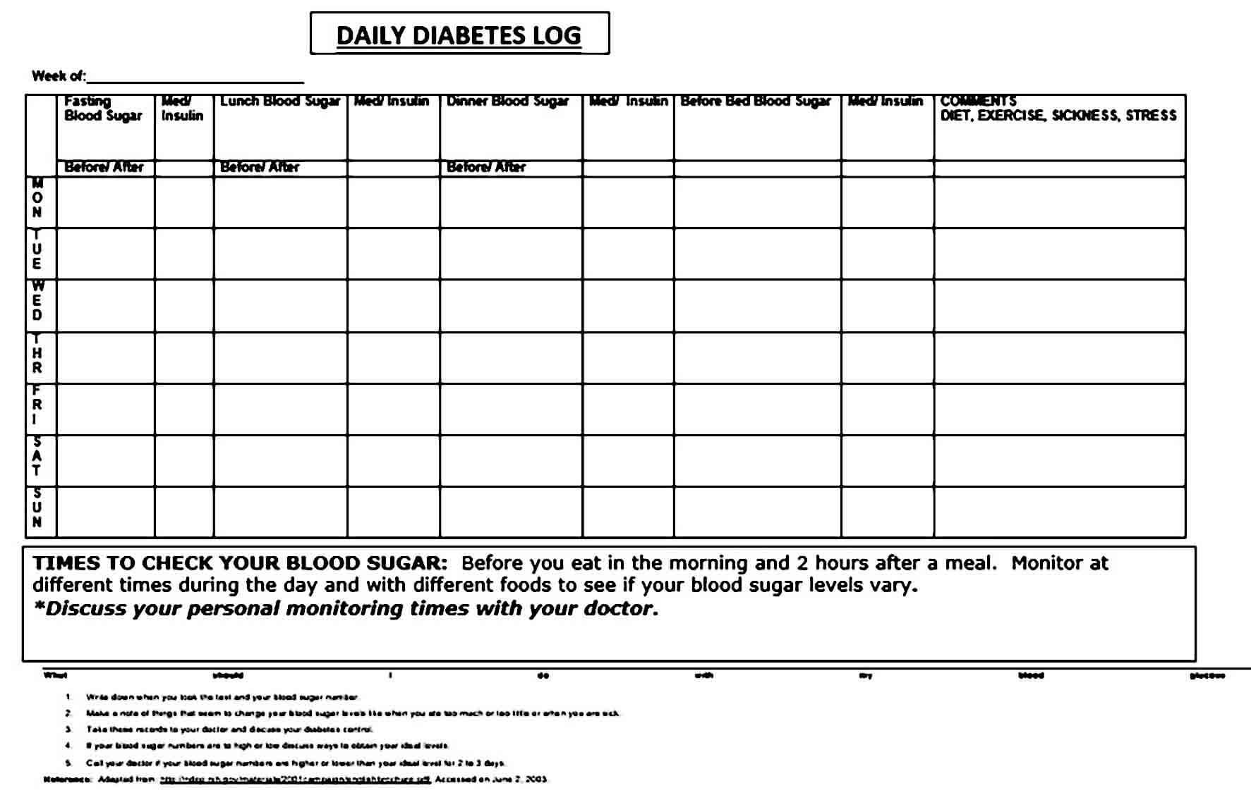 blood sugar log templates doc