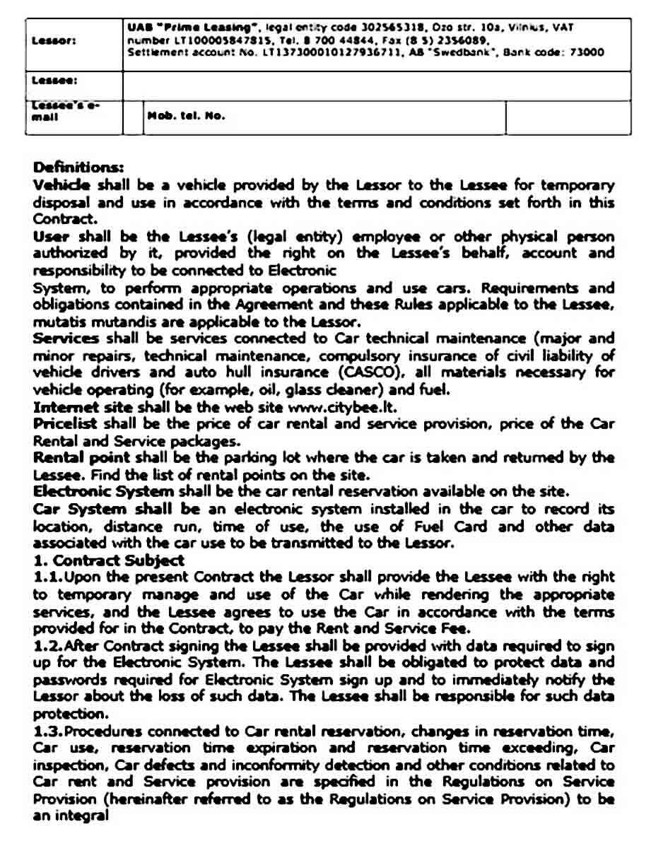 car lease and service agreement