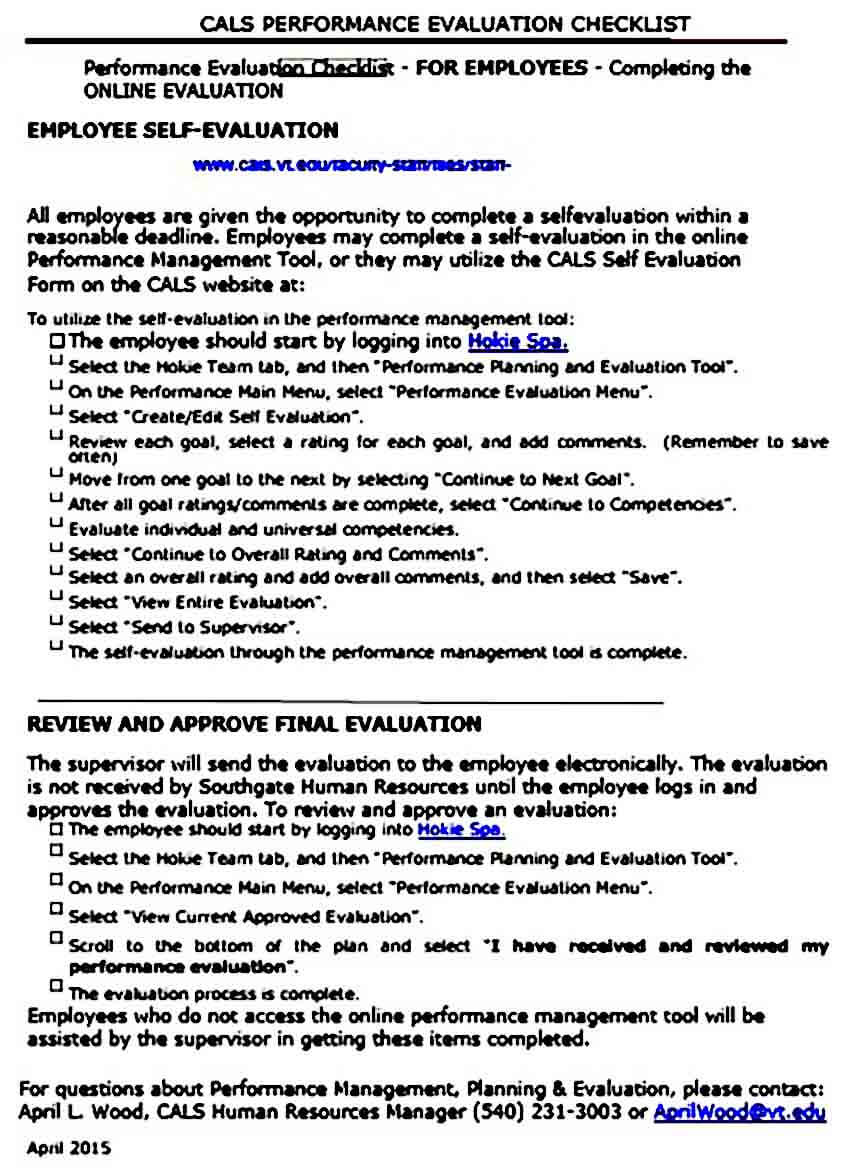 checklist employee self evaluation templates