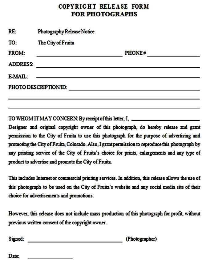 copyright release form photos